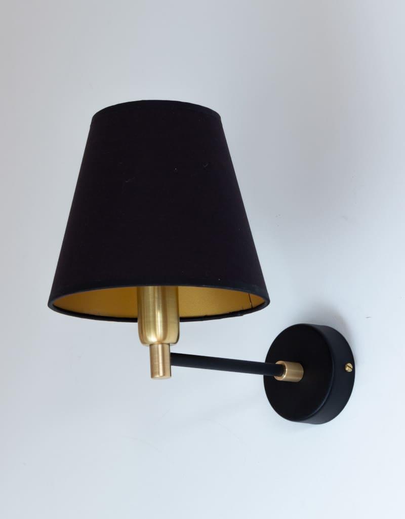kinkiet czarno-zloty -Materiał: stal malowana proszkowo, mosiądz -Źródło światła-żarówka E14 -wymiary na zamówienie